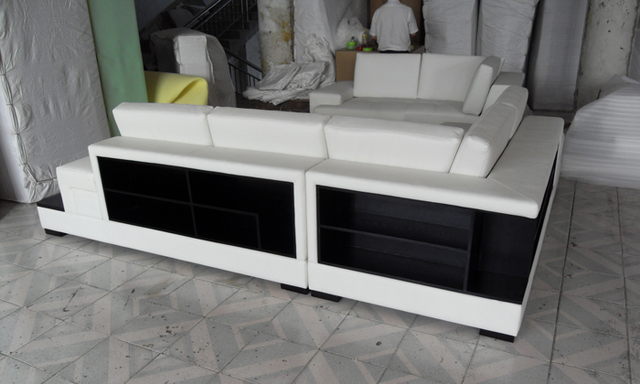 Free Shipping  Modern  sofa Set made with genuine leather Corner Sofa with LED light  sofa set living room furniture LC9111
