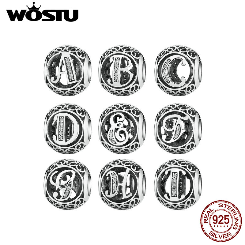Authentic 925 Sterling Silver Vintage A to Z, Clear CZ Letter Charms Beads Fit Original WST Bracelets & Bangles Jewelry