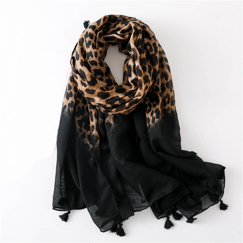 2019 Fashion Women Gradient Leopard Print Scarf Soft Pretty Big 180*100cm Leopard Stole Thin Warm Large Shawls Cachecol Wraps