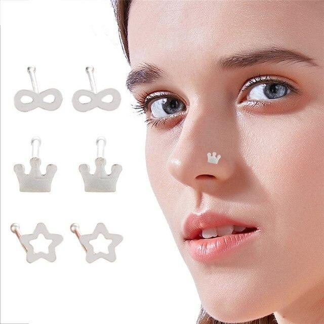 1 Pair Surgical Steel Nose Piercing For Men Women Star Crown \