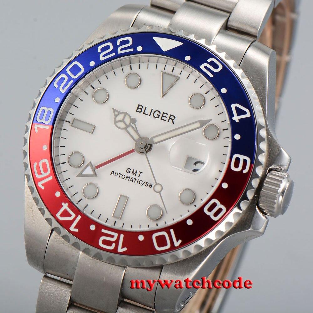 43mm bliger white dial date window sapphire glass automatic mens wrist watch P24 цена и фото