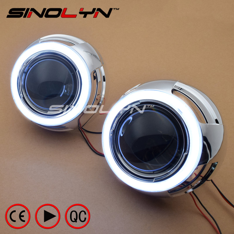 SINOLYN LED Angel Eyes Devil Eye DRL Car Bi Xenon Projector Lens For Headlight Kit Car Styling Auto Tuning DIY Headlamp Lenses sinolyn 35w 3 0 inch bi xenon square lens projector hid headlights full metal headlamp glasses lenses diy kit hi lo car styling