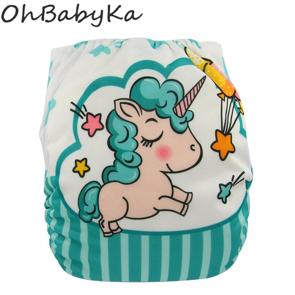Ohbabyka Adjustable Cloth Diaper Unisex Reusable Newborn Baby Nappies Pocket Cloth Diaper Soft Breathable Potty Training Pants