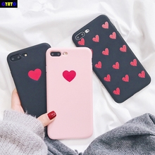 Cyato Retro Red Love Heart Phone Case For iphone X 6 6S 7 8 Plus Fashion Soft TPU Silicone Ultra Slim Cover