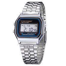 цены Alipower Vintage Womens Men Stainless Steel Digital Alarm Stopwatch Wrist Watch Men's Retro Electronic Relogio Masculino Femme