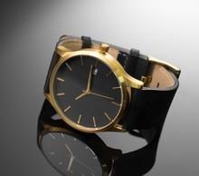 Design minimaliste Hommes Horloge Montre En Or Véritable En Cuir Bande Grande Taille Cas 44mm