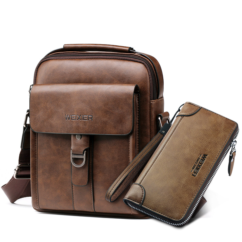 2019 new PU leather shoulder bag for men Waterproof mulit-pockets men's crossbody bag Fashion handbag Casual brown messenger bag