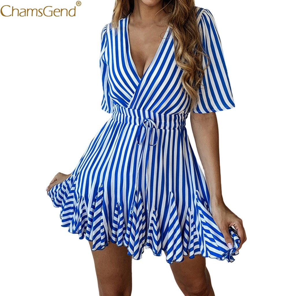 Natural Print Pockets summer dress women dresses woman party night xxl summer dress girl Casual Fashion Print Striped Feb28