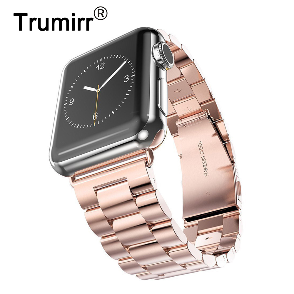 TRUMiRR Stainless Steel Watchband + Adapters for 38mm 42mm iWatch Apple Watch Series 1 & 2 Sport Band Wrist Strap Link Bracelet nylon watchband adapters for iwatch apple watch 38mm 42mm zulu band fabric strap wrist belt bracelet black blue brown green