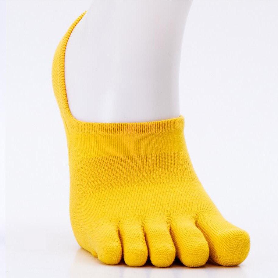 Мужские носки хлопчатобумажные уличные летние весенние мужские спортивные носки лодыжки Пять пальцев Велоспорт Футбол Носки мужские тонкие носки 39-44 1 пара - Цвет: yellow