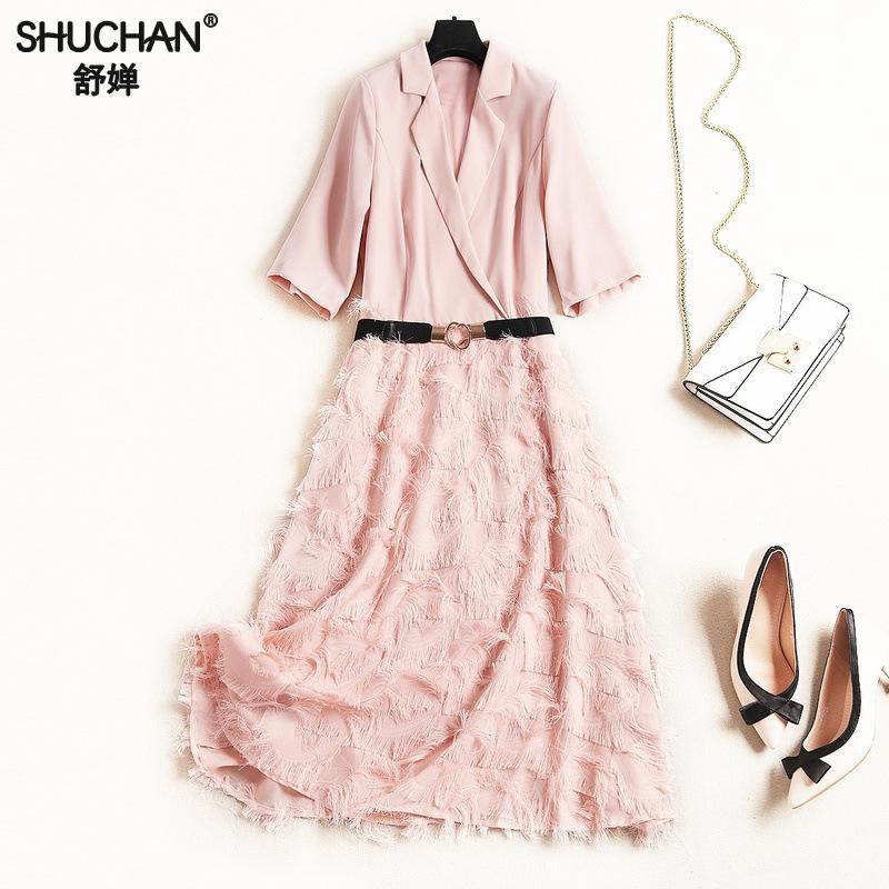 314d89344b8449e Shuchan уличная Высокая мода платье кисточки короткий рукав дизайнерские  женские платья 2019 Высокое качество Turn-