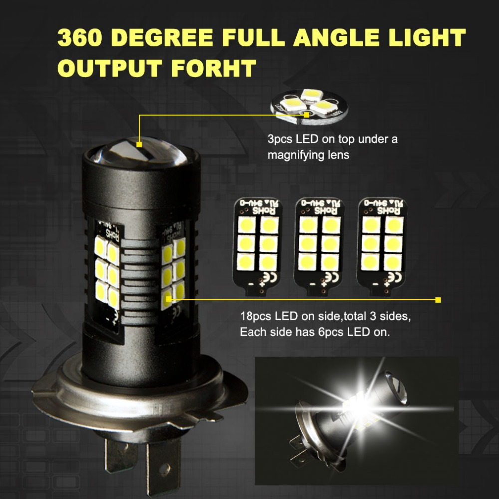 Image 4 - 2Pcs H7 LED Lamp Super Bright Car Fog Lights 12V 24V 6000K White Car Driving 21 3030 SMD Running Light Auto Led H7 Bulb-in Car Headlight Bulbs(LED) from Automobiles & Motorcycles