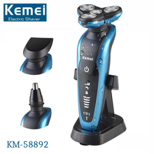 Original KM-58892 3 In 1 Rechargeable Washable Electric Shaver Waterproof Man Face Care Floating 3D Shaving Razor Triple Blade
