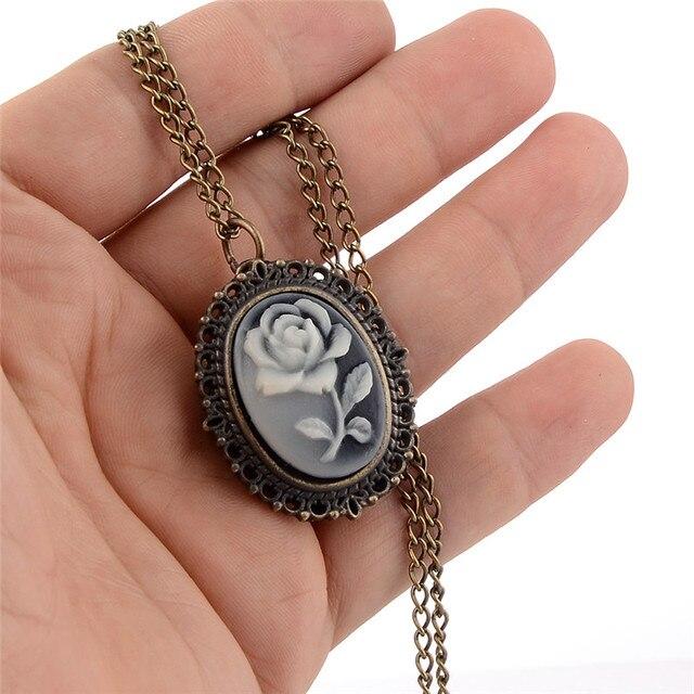 Fashion Mini Pocket Watch Rose Flower Quartz Necklace Pendant Chain Women Men Po