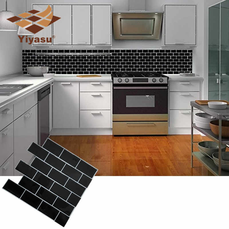 Self Adhesive Peel And Stick Black Subway Tile Backsplash 3d