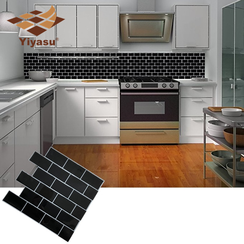 self adhesive peel and stick black subway tile backsplash 3d mosaic wall decal sticker diy kitchen bathroom home decor vinyl