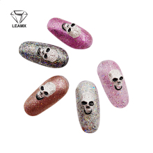 Free Shipping 10pcs 3D Nail Art Halloween Decoration Metal Gray Silver Skull harms Jewelry DIY Beauty Wholesale