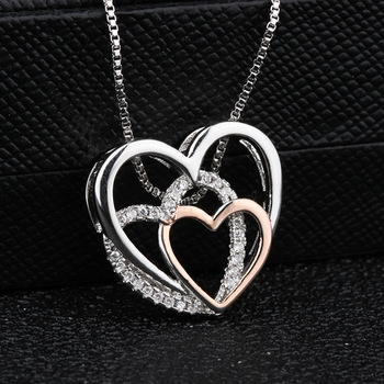 Beautiful Sterling silver three Hearts Necklaces  3