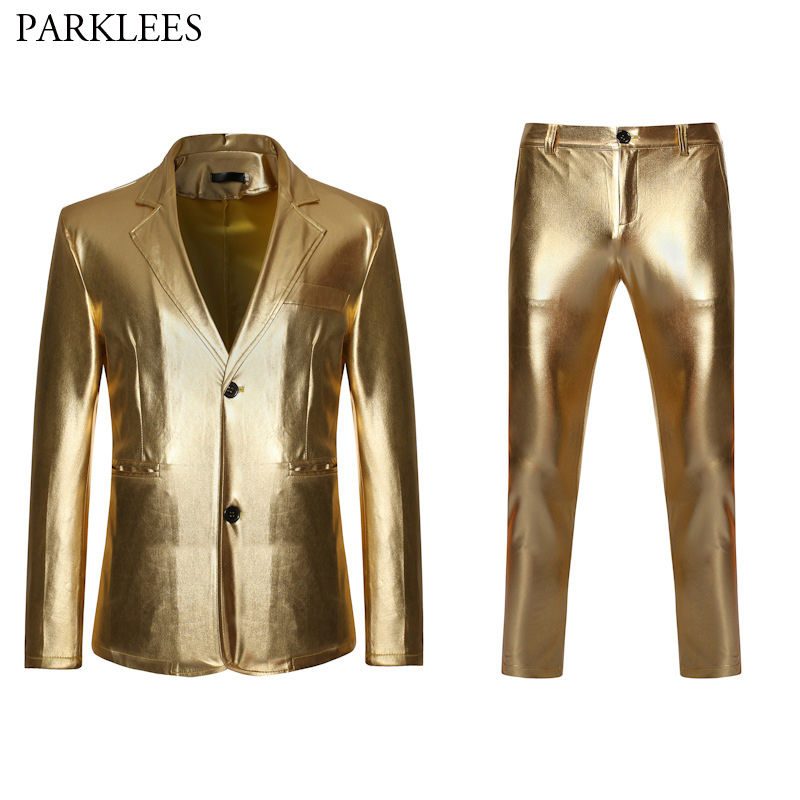 Shiny Gold Metallic Glitter Suit Men Nightclub Slim Fit Single Breasted Mens Suits With Pants DJ Stage Singer Costume Homme XXL