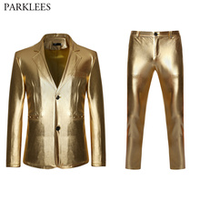 Mens Suits Costume Pants Glitter-Suit Gold Slim-Fit Stage-Singer Homme Single-Breasted
