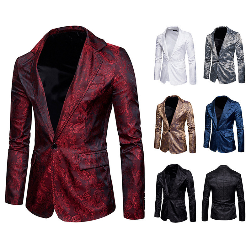 Men's Casual Long Sleeve Business Suits Lapel Collar Solid Color Suit Blazer