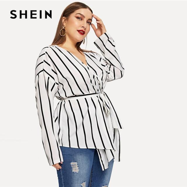 SHEIN White Asymmetrical Plus Size V-neck Belted Striped Blouses Women 2019 Elegant Spring Long Sleeve Highstreet Tops Blouse 3