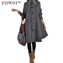 2017 mode frauen Loose Fit Rollkragen Faux Wollmantel Graben Jacke Peacoat Cape Mantel Oberbekleidung Mantel JL0550(China)