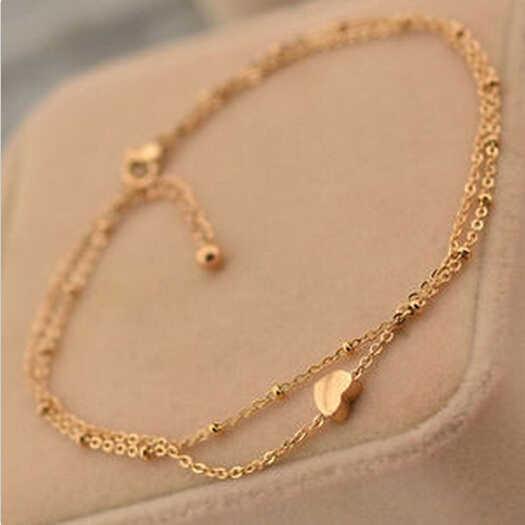 Летний стиль очаровательное сердце кулон две цепи золотой браслет на лодыжку браслет на ногу сандалии женские браслеты для щиколотки