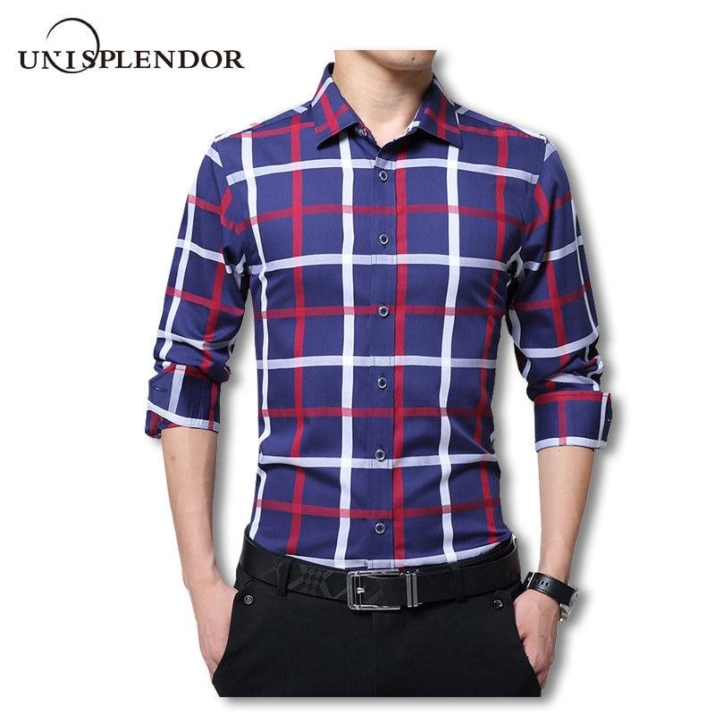 2019 높은 품질 100 % 코 튼 남자 드레스 셔츠 슬림 맞는 캐주얼 봄 셔츠 남자 격자 무늬 긴 소매 셔츠 플러스 크기 YN10027