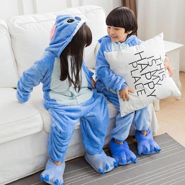 Children Stitch Kigurumi Pajama Kid Boy Girl Anime Overall Tiger Pijama Onesie Onepiece Baby Animal Sleepwear Cosplay