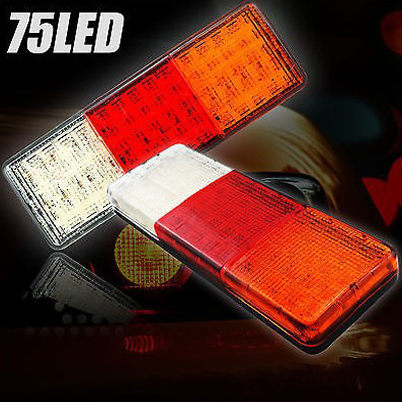 castaleca 2X Car truck trailer 75 LED Rear Tail Light brake Parking Turn Taillights Indicator Lamp Reverse applications yamaha led trailer light kit