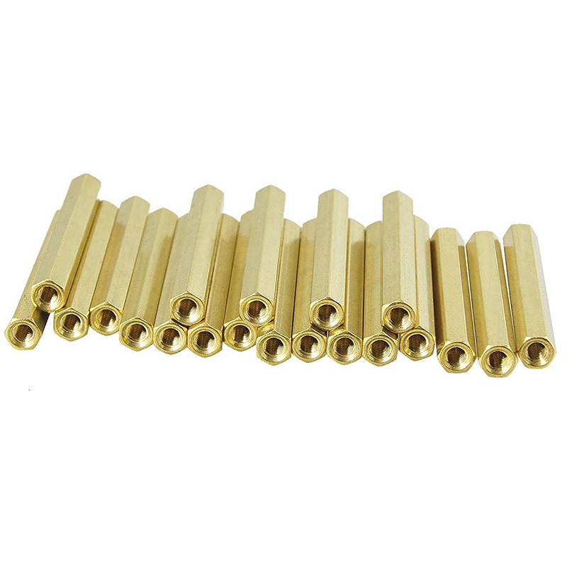 20 Pcs <font><b>M3X40mm</b></font> Gold Tone Female Thread Standoff Hexagonal Spacer image