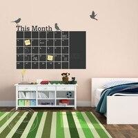 Diy calendario pizarra mensual pared del vinilo removible pizarra planificador 6 pájaros lindos mural wallpaper pegatinas de pared 55*100 cm