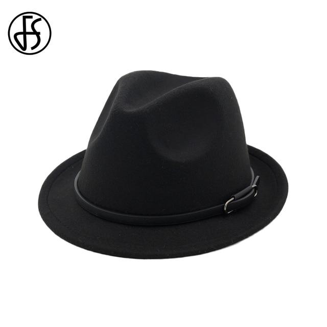 FS Autumn Winter Black Red Fedora Hat For Men Wide Brim Wool Felt Vintage  Top Jazz Hats Lady Church Trilby Caps With Belt 7e0d1c801a2