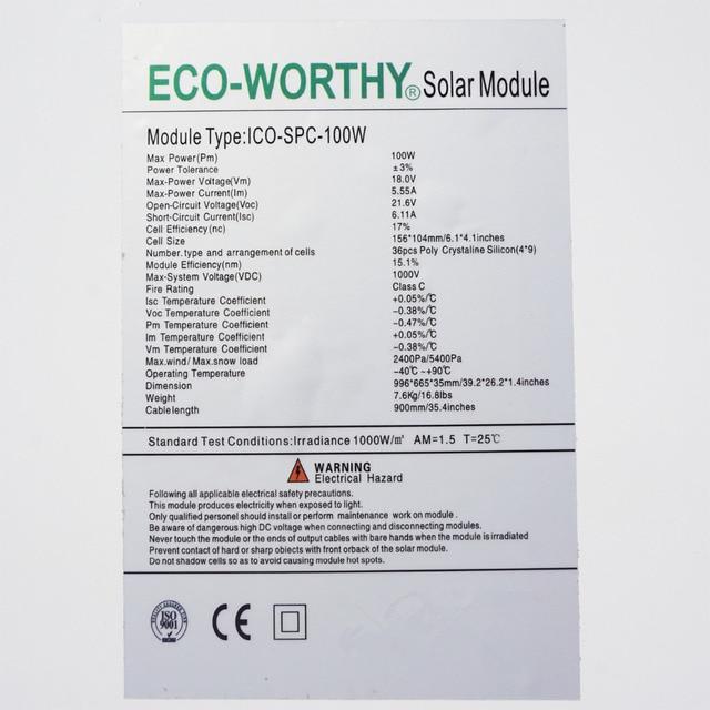 ECO UK STOCK 100w 100watt Solar Panel Module for 12V System Free Shipping in UK Stock No Tax No Duty