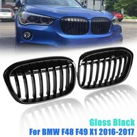 for BMW F48 F49 X1 2016 2017 Pair Replacement Gloss Black Front Kidney Grill Grilles Car Racing Grills
