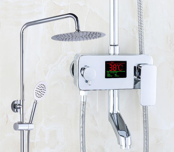 Temperature sensitive shower faucet, Thermostatic shower faucet shower head set,Bathroom shower faucet thermostatic mixing valve bathroom thermostatic shower faucet shower head set wall mount shower faucet mixer brass shower faucet thermostatic mixing valve