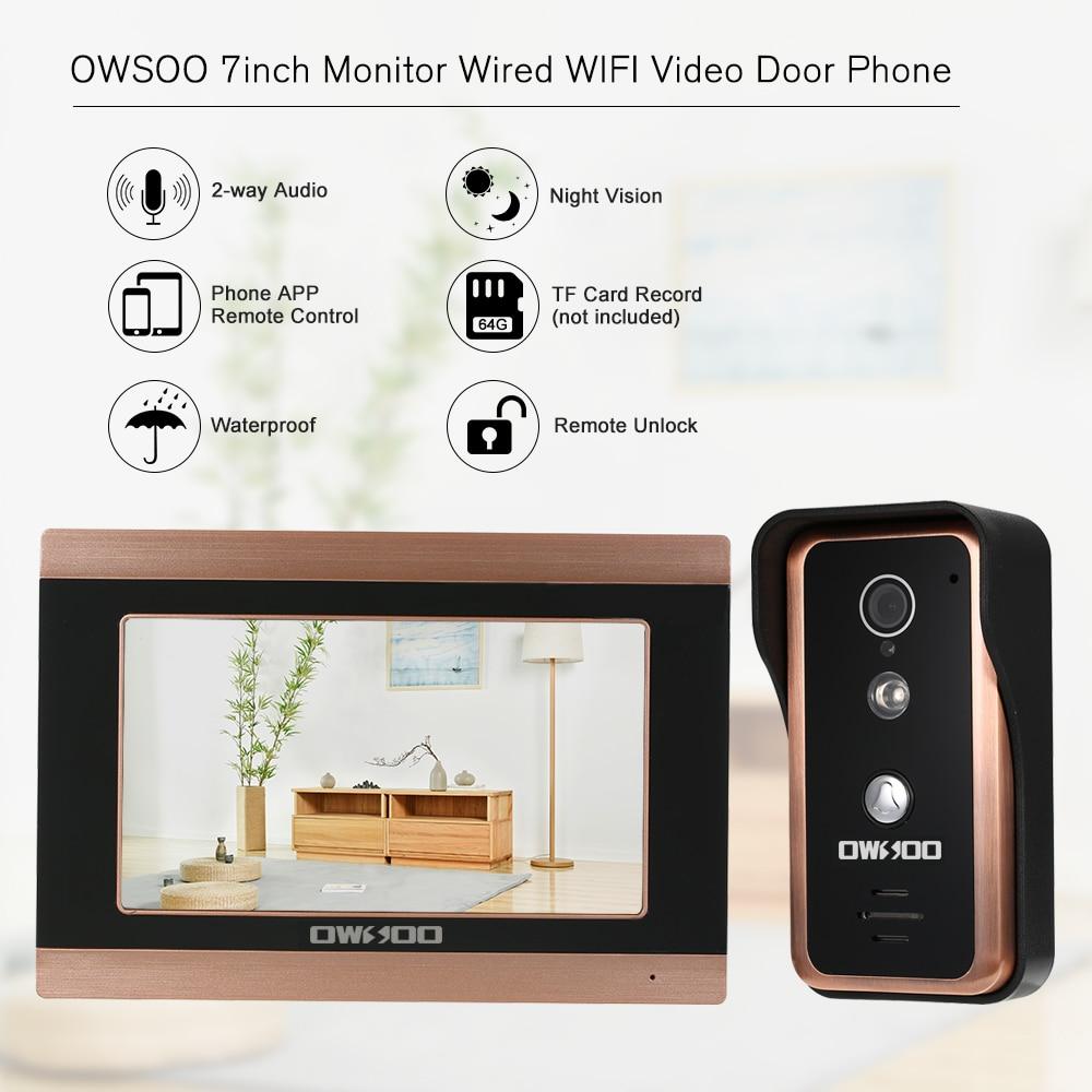 OWSOO 7inch Monitor Wired WIFI Video Door Phone Doorbell Intercom IR-CUT Camera Night Vision Phone APP Remote Recording Snapshot