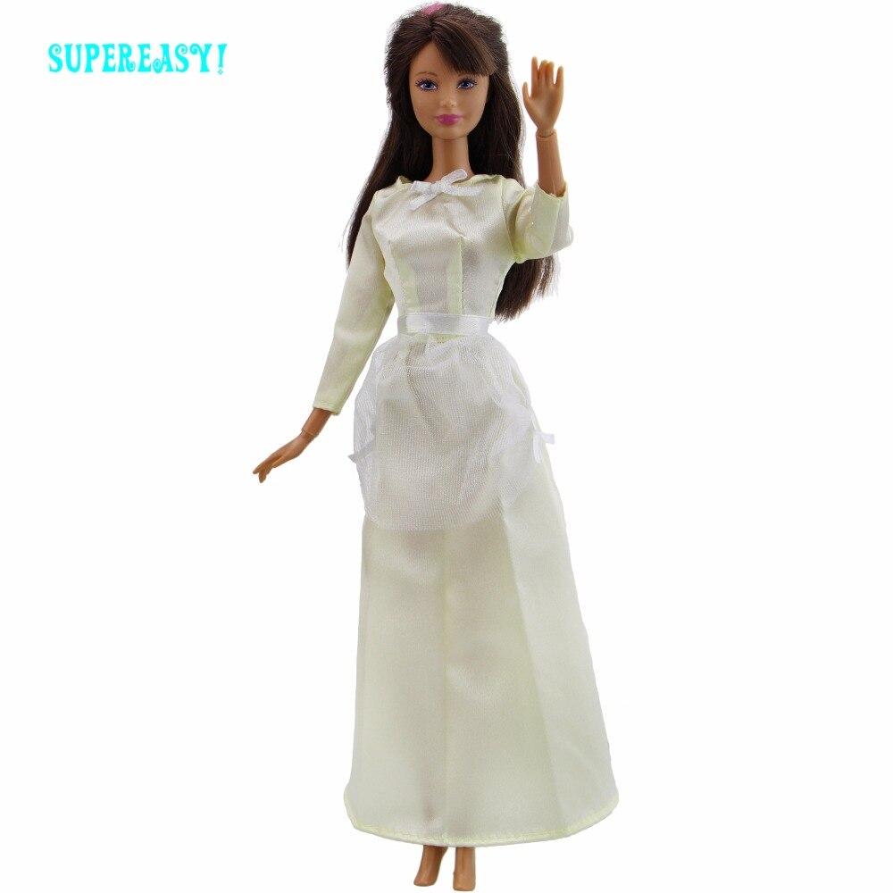 1 шт. ручной работы платье принцессы одежда с длинным рукавом милое кружевное платье бантом желтая юбка Одежда для куклы Барби FR аксессуары ...
