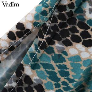 Image 5 - Vadim elegante vestido estampado de serpiente camisa patrón animal pajarita fajas cintura elástica plisada manga larga vestidos midi vestidos QB240