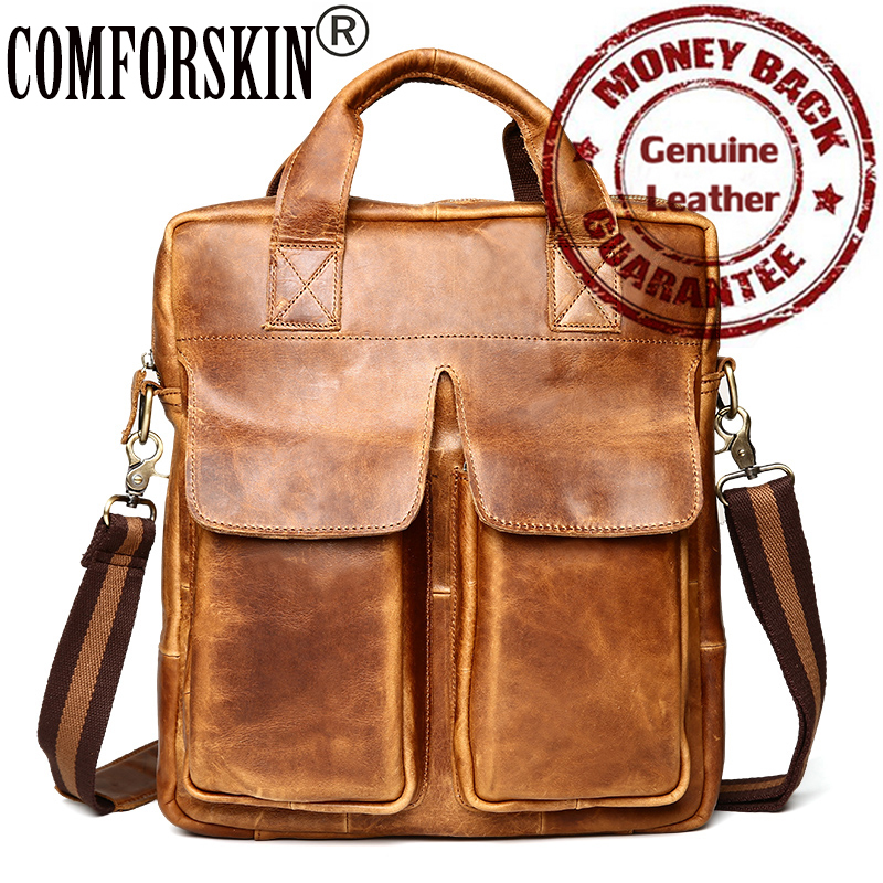 100% Luxurious Genuine Leather Men Totes Handbags 2017 New Arrivals Retro Men Crossbody Bags Fashion Casual Male Messenger Bags 2017 new arrivals vintage dark coffee men messenger bags 100% genuine leather guaranteed hot fashion designer men crossbody bags
