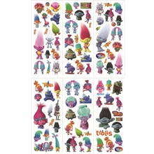 6 Sheets set High Quality cute trolls Stickers Kids Toys Sticker girl boy