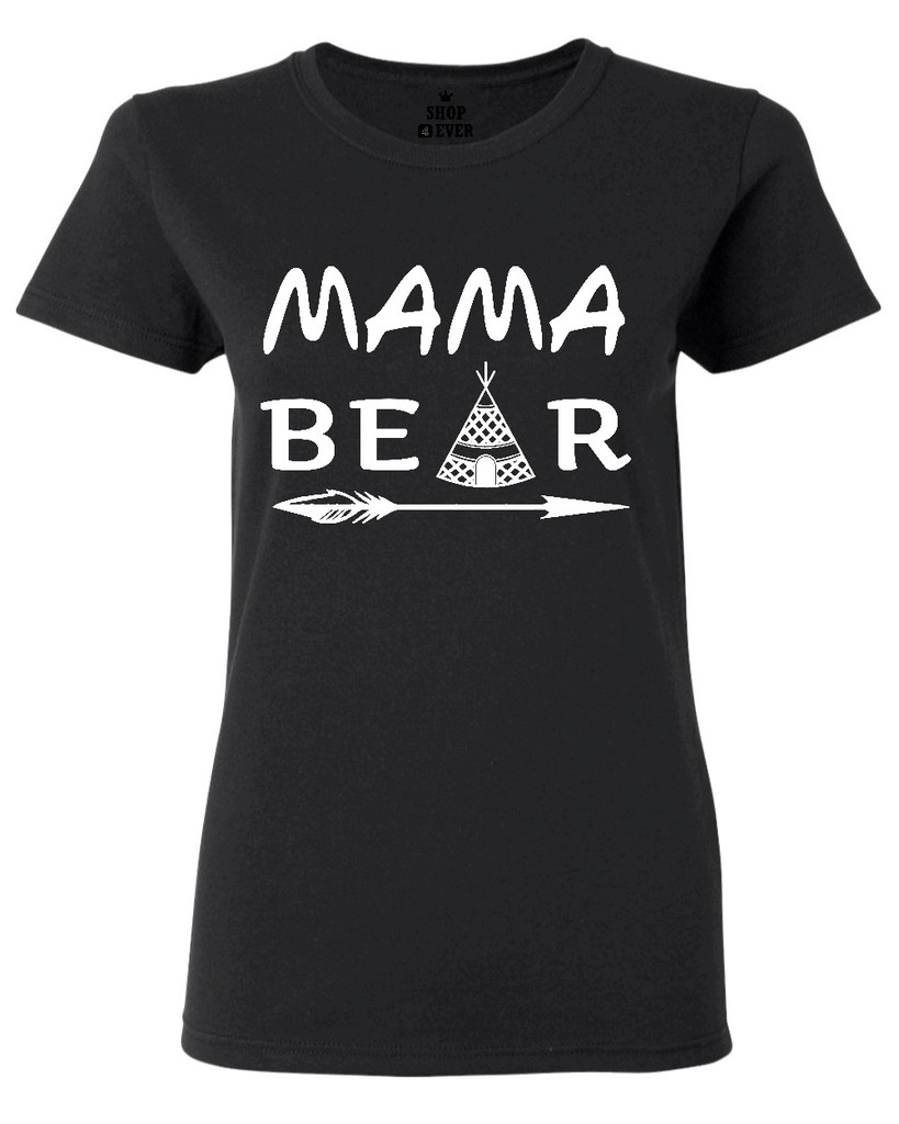 Mama Bear with Tent Womens T-Shirt Love Matching Bear Mothers Day WomenS T Shirt 2017 Summer Style Lady Short Sleeve Tees