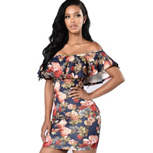 dress Female 2017 Summer Sexy Off the Shoulder Print Ruffles Strapless Cute Beach Casual Above Knee, Mini