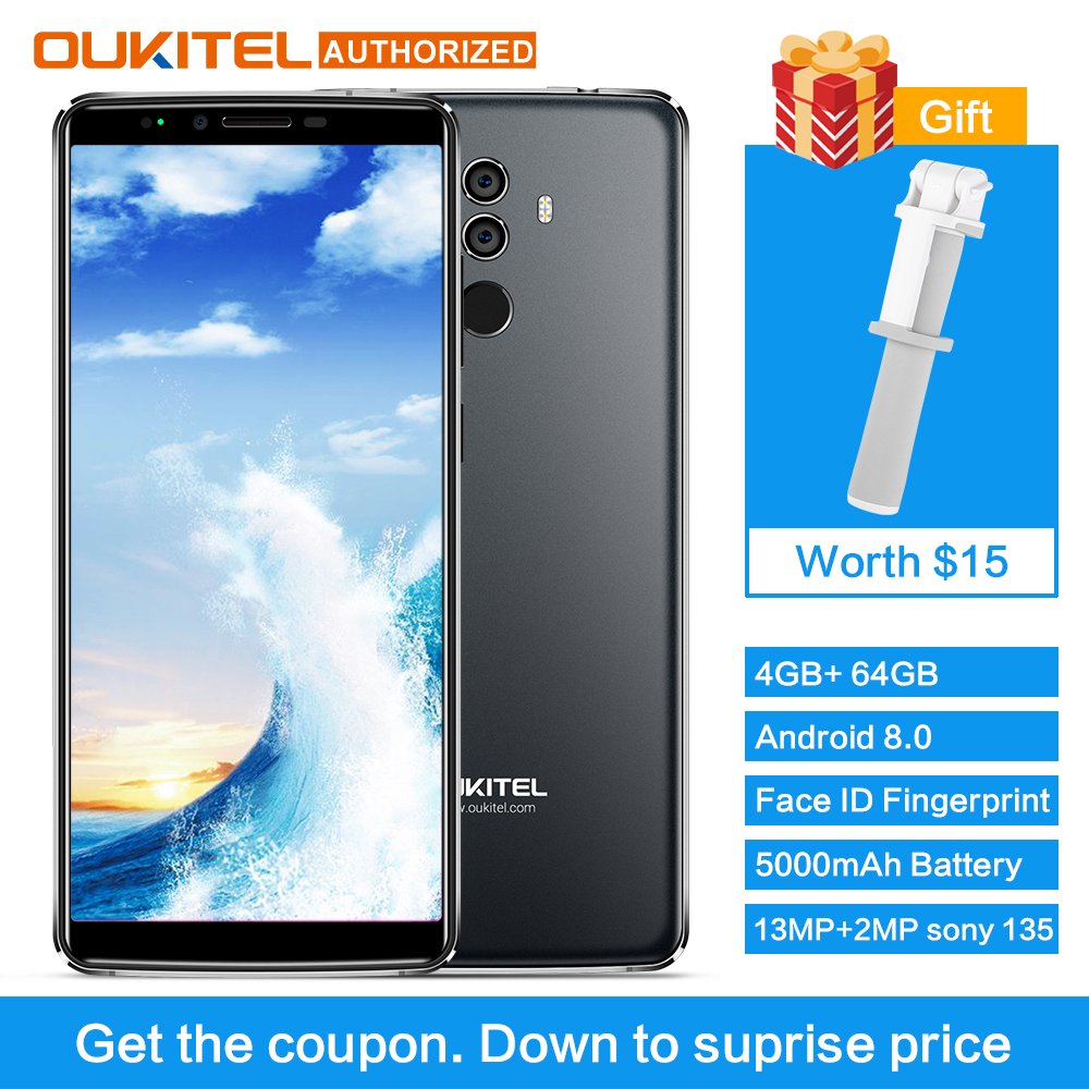 OUKITEL K8 4G 64G Android 8.0 Cellphone Octa-core 5000 mAh 6'' 18:9 Display Dual Rear Camera Face ID Fingerprint Smart Phone