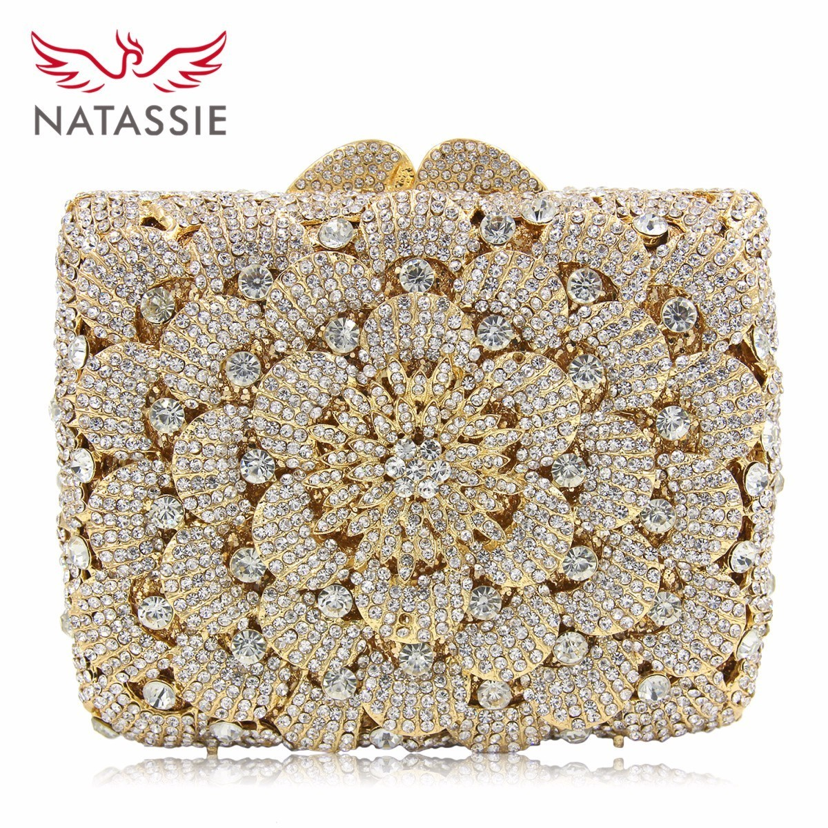 NATASSIE 2018 Women Gold Evening Bag Flower Crystal Purse Ladies Wedding Clutches Diamond Party Bags