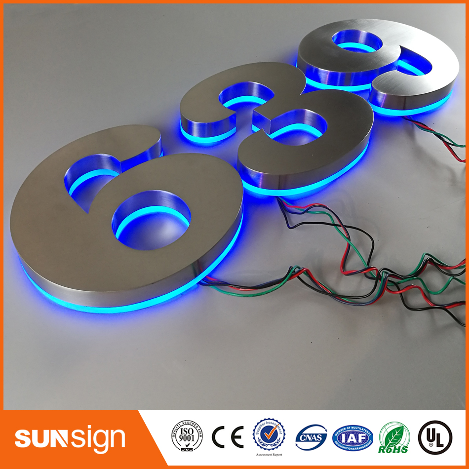 Painted Stainless Steel Backlit Signage Letters LED 3D Illuminated Channel Letters Signs For Club