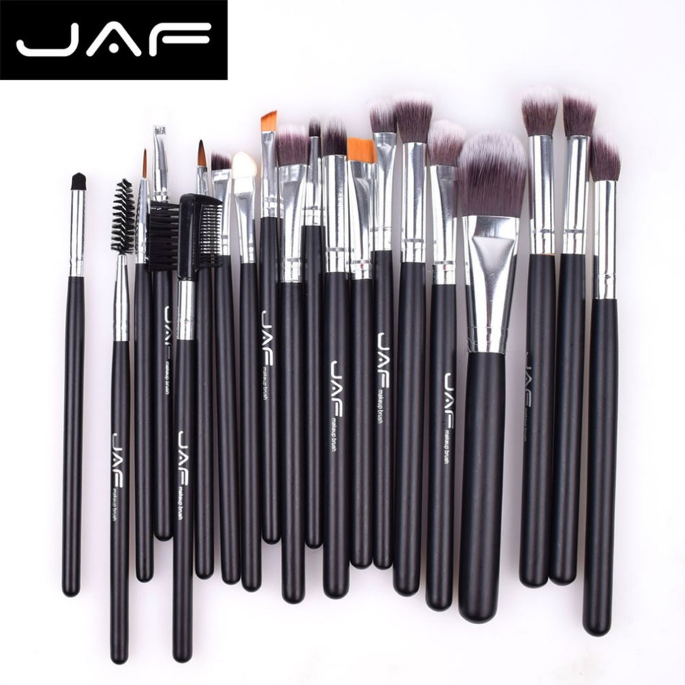 цена на JAF JE20SSY-B 20pcs Makeup Brush Set Face Eye Shadow Foundation Blush Blending Cosmetics Tool Synthetic Hair Taklon Tool Kits