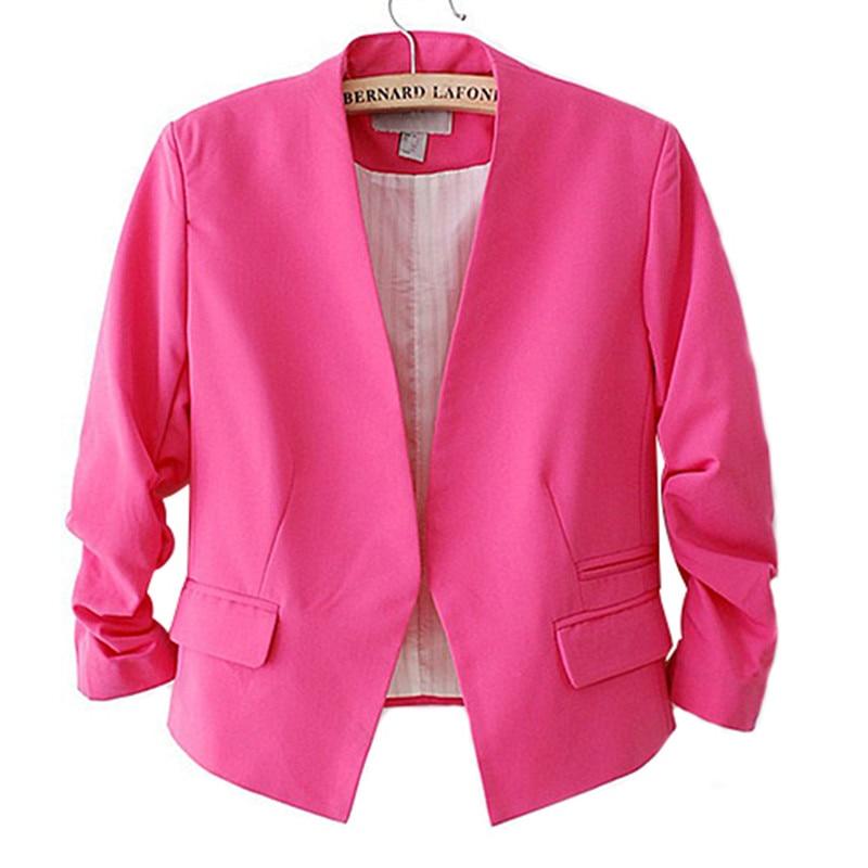 Womens Candy Colour Basic Blazer Coat Slim Suit Jacket Blazer