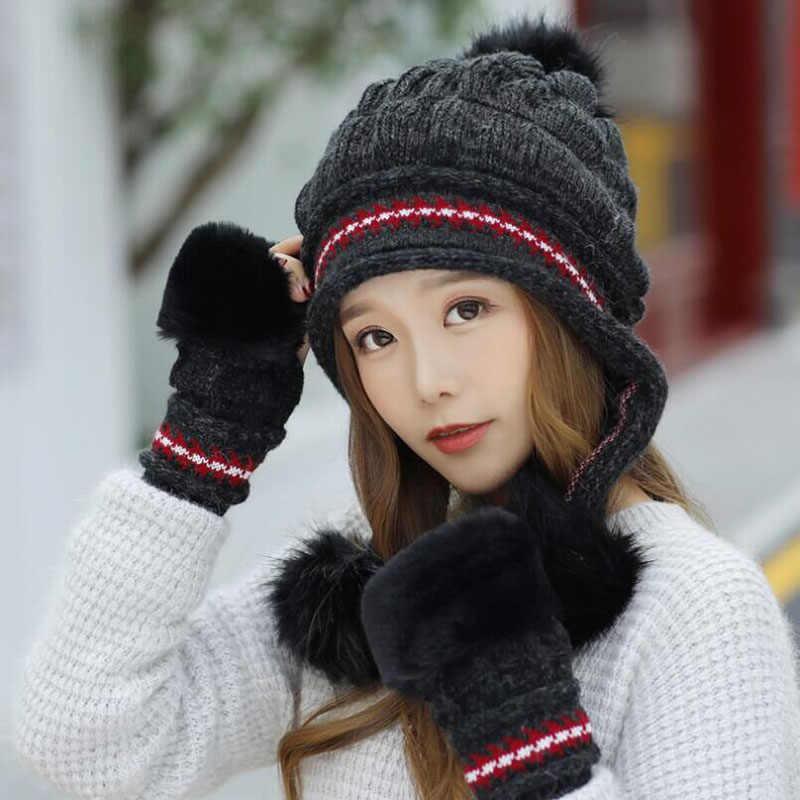 SUOGRY Winter Hat Female Autumn and winter Fashion Women's Female Toe Cap  New Warm Gloves + knit hat    - AliExpress